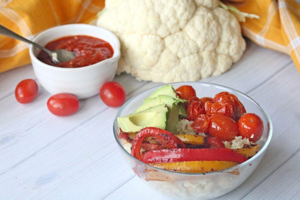 veggie fajitas with cauliflower rice