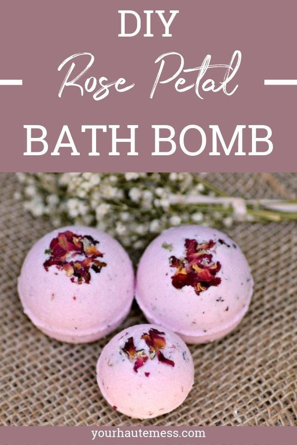 These rose petal bath bombs are super simple and easy to make. All you need are a few ingredients and you'll be relaxing in no time at all! #yourhautemess #bathbomb #rose #DIY #essentialoil #homemade
