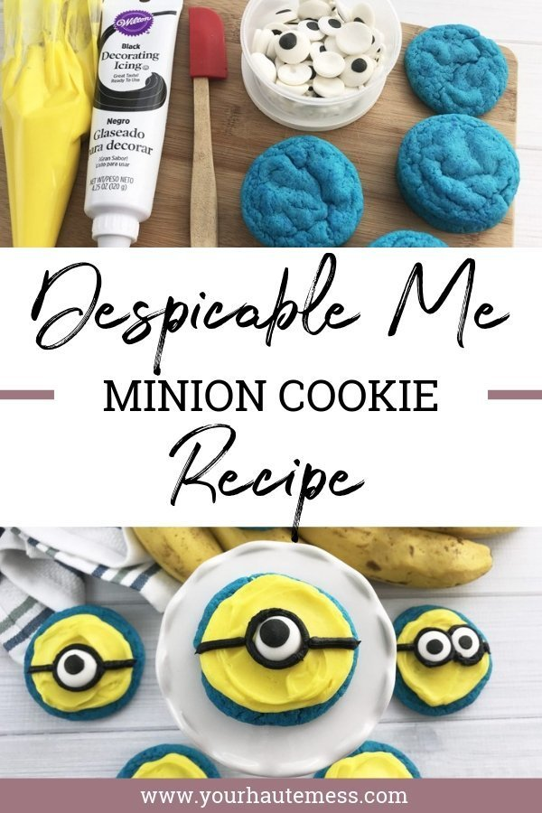 If your kid (or you... no judgement!) are OBSESSED with Despicable Me, this minions cookie recipe is exactly what you need! Are you Bob or Kevin? #despicableme #minionsmovie #cookierecipe